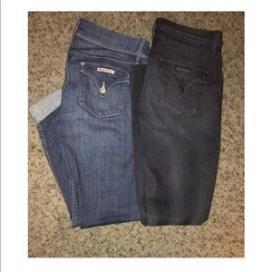Two pairs Hudson Skinny Jeans